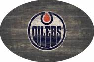 "Edmonton Oilers 46"" Distressed Wood Oval Sign"