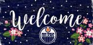 """Edmonton Oilers 6"""" x 12"""" Floral Welcome Sign"""