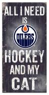 "Edmonton Oilers 6"" x 12"" Hockey & My Cat Sign"