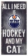 "Edmonton Oilers 6"" x 12"" Hockey & My Cat Sign"
