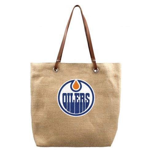 Edmonton Oilers Burlap Market Tote
