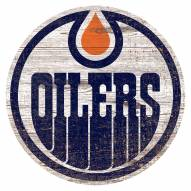 Edmonton Oilers Distressed Logo Cutout Sign