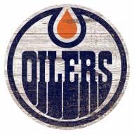 Edmonton Oilers Distressed Logo Cutout Sign