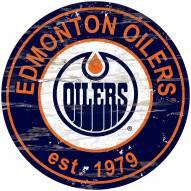 Edmonton Oilers Distressed Round Sign