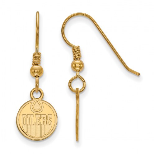 Edmonton Oilers Sterling Silver Gold Plated Extra Small Wire Dangle Earrings