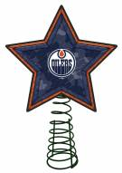 Edmonton Oilers Light Up Art Glass Mosaic Tree Topper