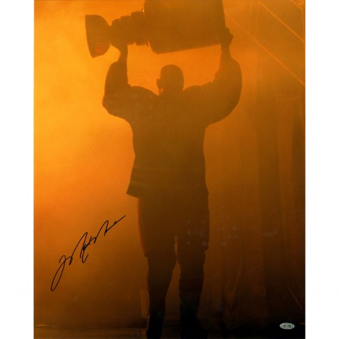 """Edmonton Oilers Mark Messier Retirement Night w/ Stanley Cup Signed 16"""" x 20"""" Photo"""