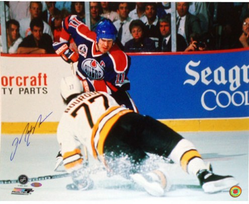 "Edmonton Oilers Mark Messier vs Ray Bourque Signed 16"" x 20"" Photo"