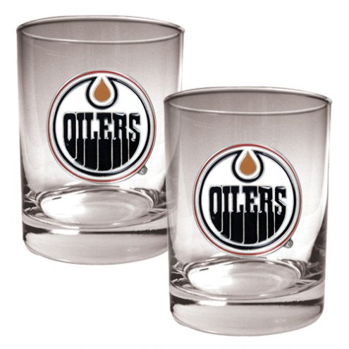 Edmonton Oilers NHL Rocks Glass - Set of 2
