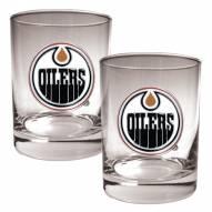 Edmonton Oilers NHL Rocks Glass - Set of 2
