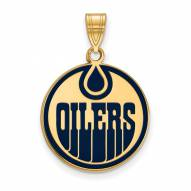 Edmonton Oilers Sterling Silver Gold Plated Large Enameled Pendant