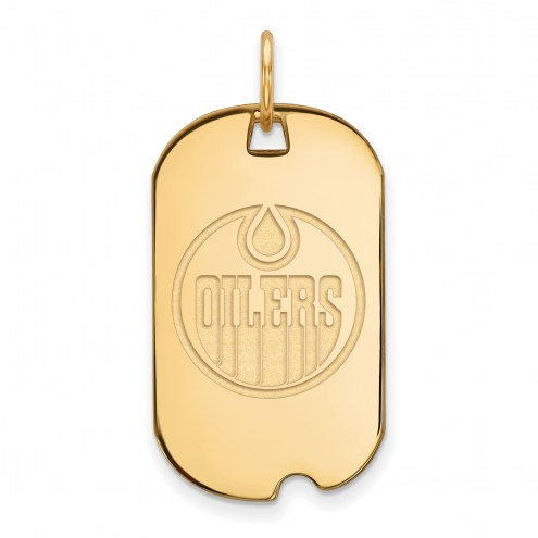 Edmonton Oilers Sterling Silver Gold Plated Small Dog Tag