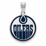 Edmonton Oilers Sterling Silver Large Enameled Pendant