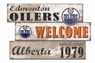 Edmonton Oilers Welcome 3 Plank Sign