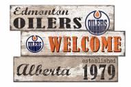 Edmonton Oilers Welcome 3 Plank Sign