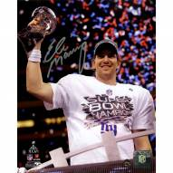 Eli Manning Signed Holding Super Bowl XLVI Trophy 8 x 10 Photo (Signed in Silver)