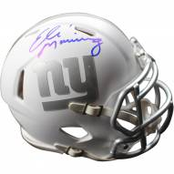 Eli Manning Signed New York Giants Riddell Ice Alternate White Speed Mini Helmet (Signed in Blue)