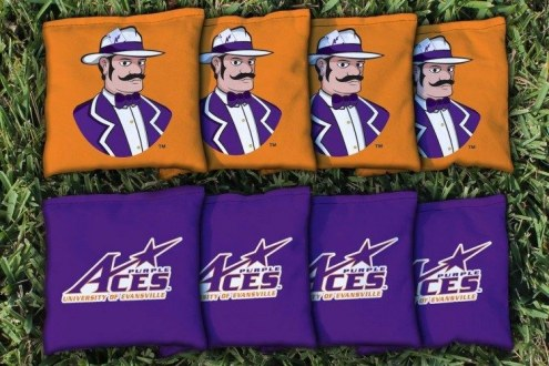 Evansville Purple Aces Cornhole Bag Set