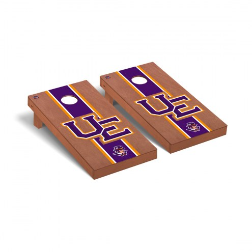 Evansville Purple Aces Rosewood Stained Stripe Cornhole Game Set