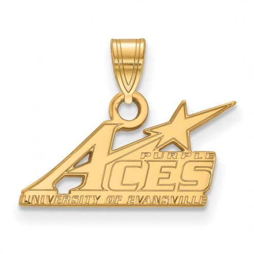 Evansville Purple Aces Sterling Silver Gold Plated Small Pendant