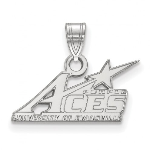 Evansville Purple Aces Sterling Silver Small Pendant