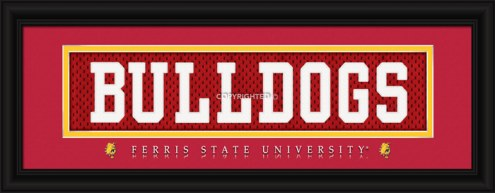 "Ferris State Bulldogs ""Bulldogs"" Stitched Jersey Framed Print"