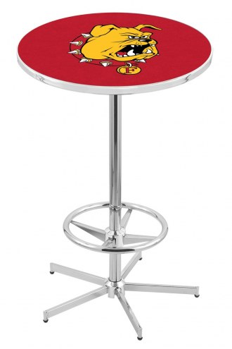 Ferris State Bulldogs Chrome Bar Table with Foot Ring