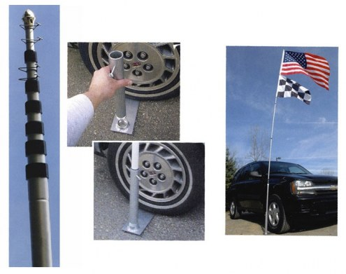 Ultimate Tailgater's Package - Includes 20' Telescoping Flag Pole and Tire Mount