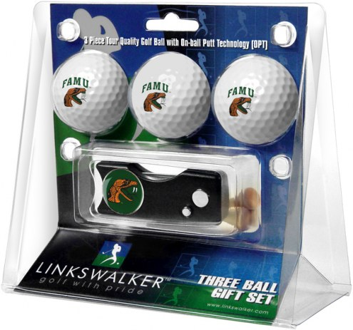 Florida A&M Rattlers Golf Ball Gift Pack with Spring Action Divot Tool