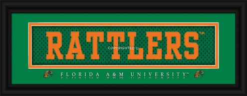"Florida A&M Rattlers ""Rattlers"" Stitched Jersey Framed Print"