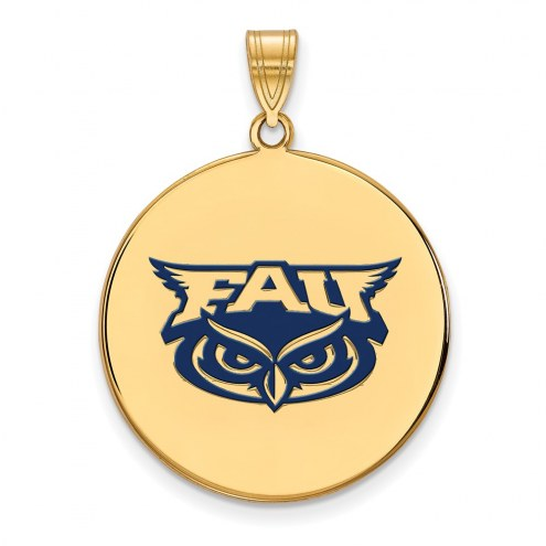 Florida Atlantic Owls Sterling Silver Gold Plated Extra Large Enameled Disc Pendant