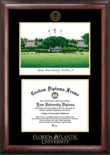 Florida Atlantic Owls Gold Embossed Diploma Frame with Lithograph