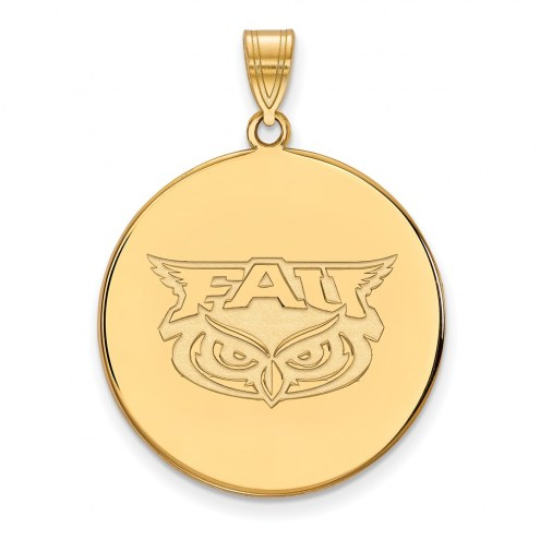 Florida Atlantic Owls Sterling Silver Gold Plated Extra Large Disc Pendant