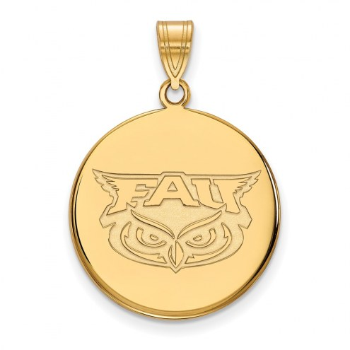 Florida Atlantic Owls Sterling Silver Gold Plated Large Disc Pendant