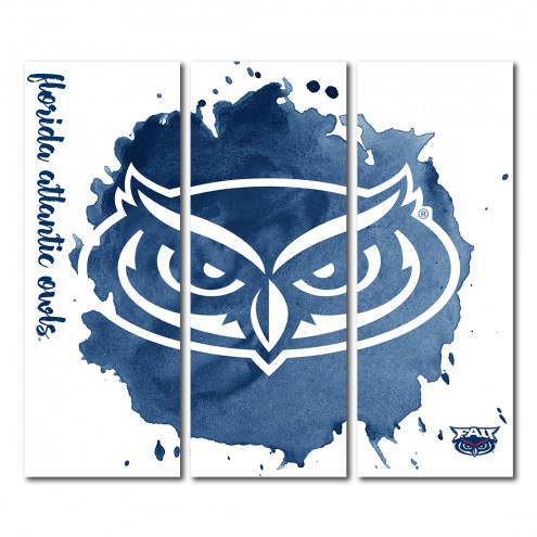 Florida Atlantic Owls Triptych Watercolor Canvas Wall Art