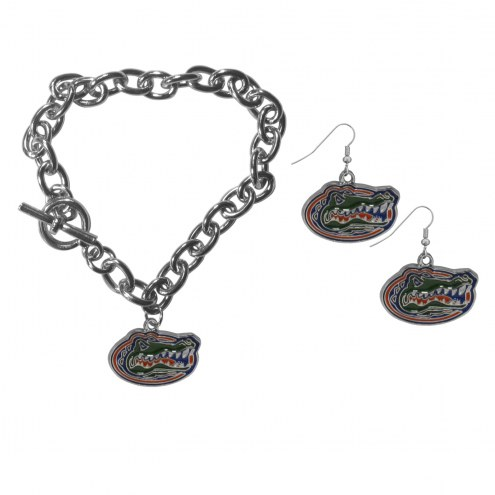 Florida Gators Chain Bracelet & Dangle Earring Set