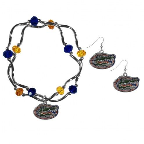 Florida Gators Dangle Earrings & Crystal Bead Bracelet Set