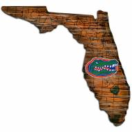 Florida Gators Distressed State with Logo Sign