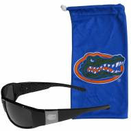 Florida Gators Etched Chrome Wrap Sunglasses & Bag