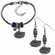 Florida Gators Euro Bead Earrings & Bracelet Set