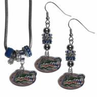 Florida Gators Euro Bead Earrings & Necklace Set