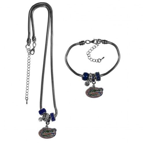 Florida Gators Euro Bead Necklace & Bracelet Set