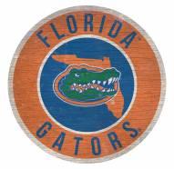 Florida Gators Round State Wood Sign