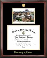 Florida Gators Gold Embossed Diploma Frame with Campus Images Lithograph