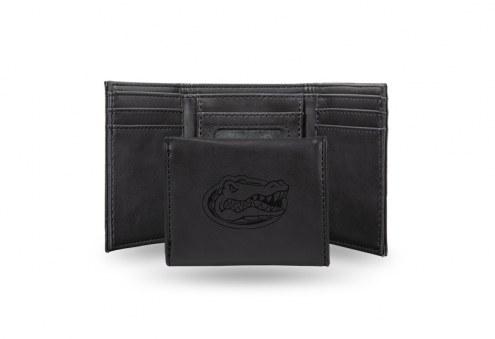 Florida Gators Laser Engraved Black Trifold Wallet