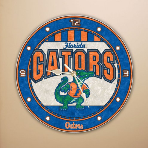 Florida Gators NCAA Stained Glass Wall Clock