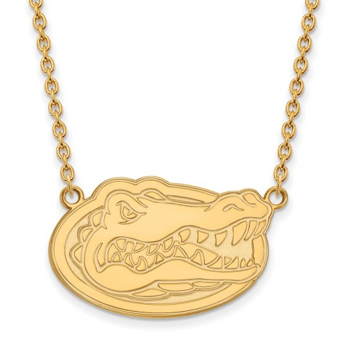 Florida Gators NCAA Sterling Silver Gold Plated Large Pendant Necklace