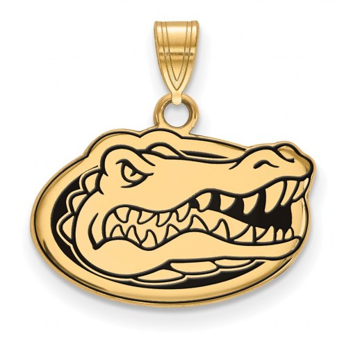 Florida Gators Sterling Silver Gold Plated Small Enameled Pendant