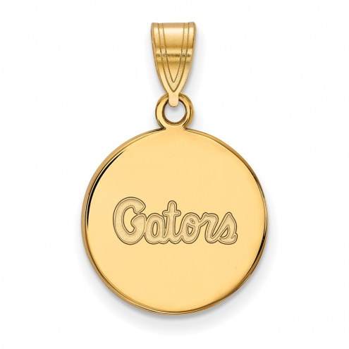 Florida Gators Sterling Silver Gold Plated Medium Disc Pendant