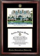 Florida International Golden Panthers Gold Embossed Diploma Frame with Campus Images Lithograph